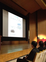 Wakata speaking at Kyushu University (Photo courtesy of JAXA)