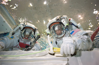 EVA training using a pool in NASA