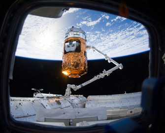 Photo of the Robotic Arm capturing KOUNOTORI 2
