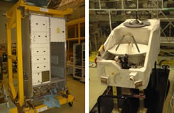 写真:ICS/DRTS地上局インタフェース確認試験時のICS与圧系サブシステム(左)と曝露系サブシステム(右)