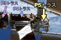 写真:国際宇宙ステーション(ISS)に取り付けられたP5トラス