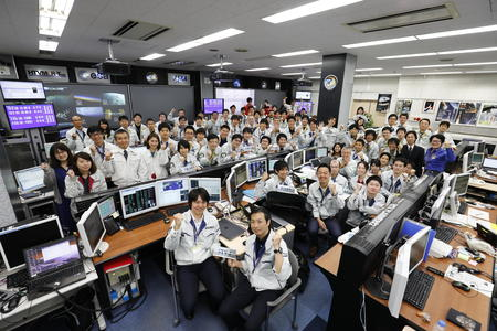 HTV Mission Control Room during the reentry of KOUNOTORI7 at the Tsukuba Space Center.
