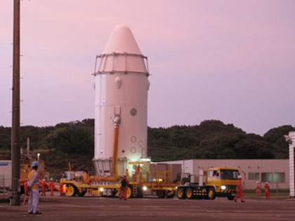 KOUNOTORI3 is being transported to the Vehicle Assembly Building