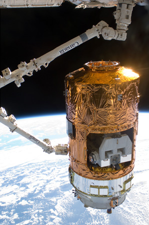 HTV2 captured by the SSRMS (Credit: JAXA/NASA)