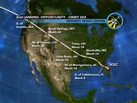 写真:飛行15日目の2回目の着陸機会におけるKSCへの飛行経路