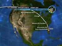 写真:飛行16日目のKSCへの1回目の着陸機会における飛行経路