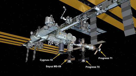 NG-10結合後のISSのイメージ