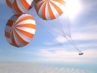 大気圏内でのパラシュート開傘イメージ