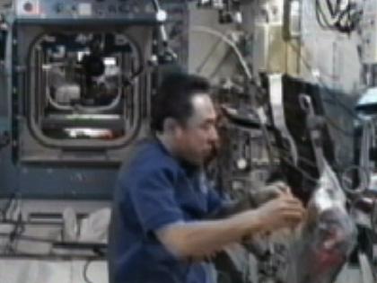 写真:「きぼう」日本実験棟で作業を行う古川宇宙飛行士(9月22日)(出典:JAXA/NASA)