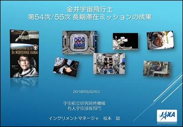 金井宇宙飛行士第54次/55次長期滞在ミッションの成果