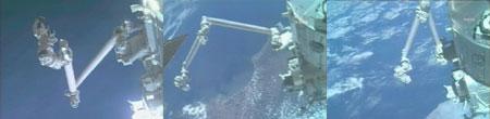写真:「きぼう」ロボットアームの展開の様子(提供:NASA)