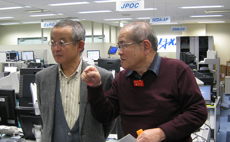 PI Furusawa (right) and Co-Investigator Ichita (left) overseeing the completion of the experiment at the UOA, TKSC