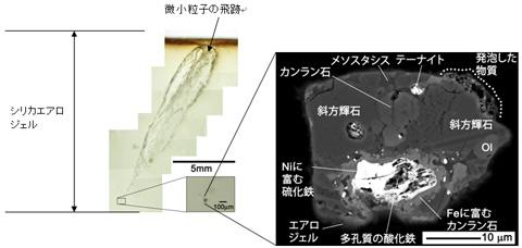 画像:シリカエアロジェル内の光学顕微鏡写真(断面図)と捕獲された「Hoshi」の拡大写真(断面の電子顕微鏡像)