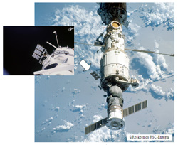 MPAC&SEED installed on the exposed portion of Zvezda. As of April, 2002 (Credit: JAXA)