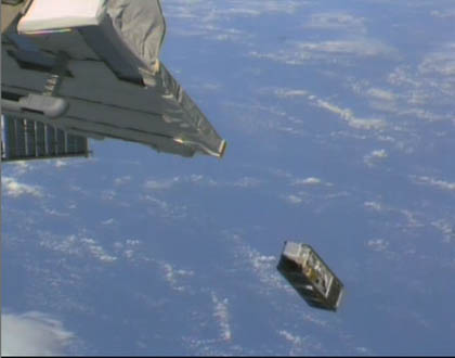 Deployment of S-CUBE (Credit: JAXA/NASA)