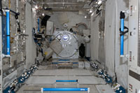 The PM interior after the racks were deployed during the STS-124 Mission (Image credit: NASA)