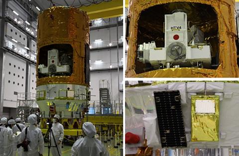 写真:(左)報道関係者に公開された「こうのとり」4号機、(右上)補給キャリア非与圧部に収納された曝露パレット、(右下)新たに機体に設置した表面電位センサ(右側)(種子島宇宙センター第2衛星フェアリング組立棟にて)