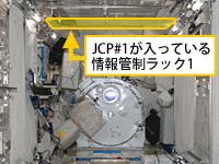 「きぼう」制御装置は2基あり、船内実験室の天井(手前と奥)の情報管制ラックにそれぞれ入っている。情報管制ラック2は写真外(提供:NASA)