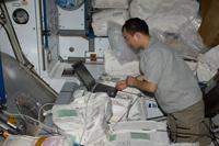 「ハーモニー」(第2結合部)で作業を行う野口宇宙飛行士(提供:NASA)
