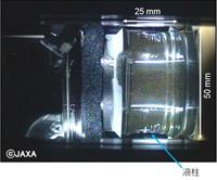 マランゴニ対流実験で生成された液柱の画像(2月1日)(©JAXA)
