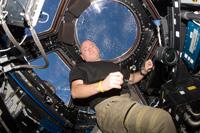 キューポラで作業するケリー宇宙飛行士(出典:JAXA/NASA)