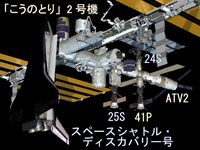 ISSに勢揃いした宇宙機イメージ(出典:JAXA/NASA)