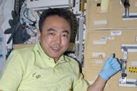 「きぼう」の細胞実験ラック前の古川宇宙飛行士(出典:JAXA/NASA)
