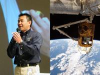 ミッション報告会に参加する星出宇宙飛行士(東京開催)(左)、「こうのとり」3号機(右)(出典:JAXA/NASA)